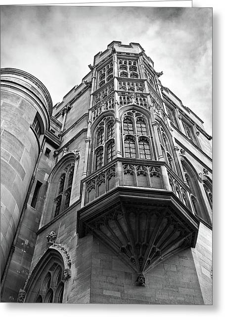 Gonville And Caius College Library Cambridge In Black And White Greeting Card by Gill Billington
