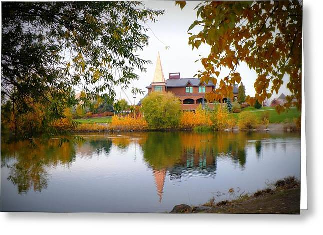Gonzaga Campus Pond In Autumn Greeting Card