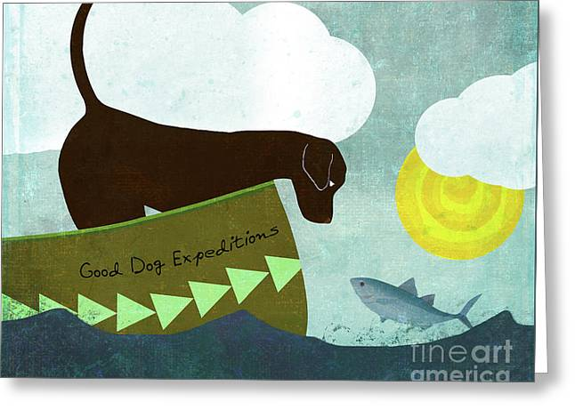 Good Dog Expeditions, Dog On A Lake Meeting A Fish Greeting Card