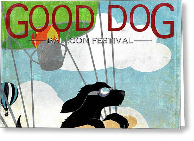 Good Dog Hot Air Balloon Festival Dogs In Flight Greeting Card