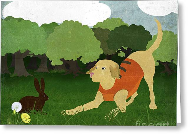 Good Dog Hunter In Training Golden Lab, Bunny Rabbit Greeting Card by Tina Lavoie