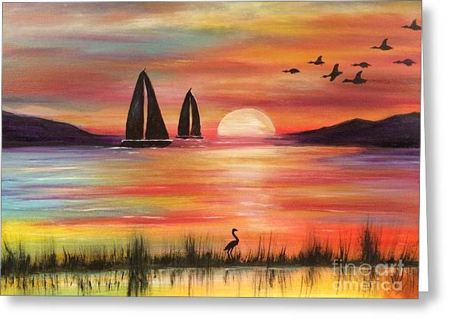 Greeting Card featuring the painting Good Eveving by Denise Tomasura