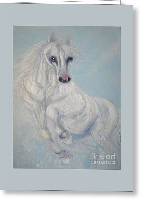 Good Fortune. Horse. Acrylic Painting On Canvas Greeting Card