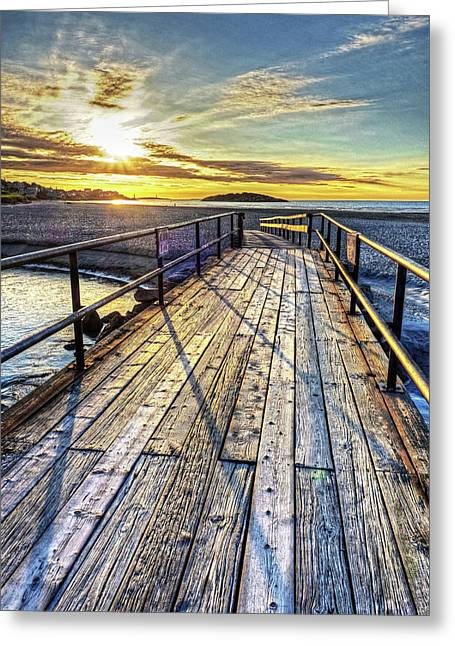 Good Harbor Beach Footbridge Shadows Greeting Card