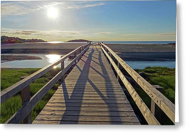 Good Harbor Beach Footbridge Sunny Shadow Greeting Card