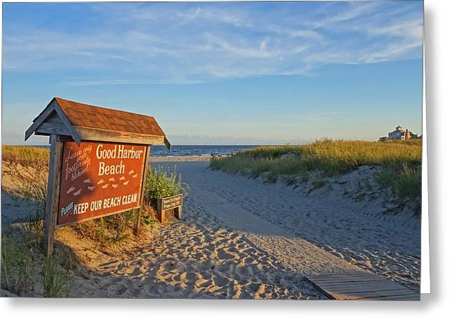 Good Harbor Sign At Sunset Greeting Card