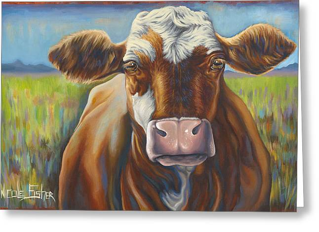 Good Mooing Greeting Card by Nicole Fisher