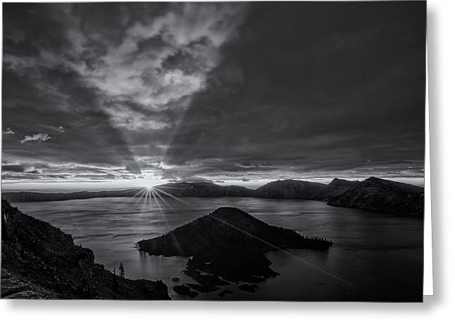 Good Morning Crater Lake -  Black And White Greeting Card by Loree Johnson
