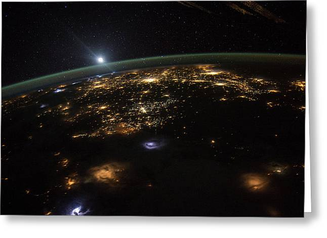 Greeting Card featuring the photograph Good Morning From The International Space Station by Artistic Panda