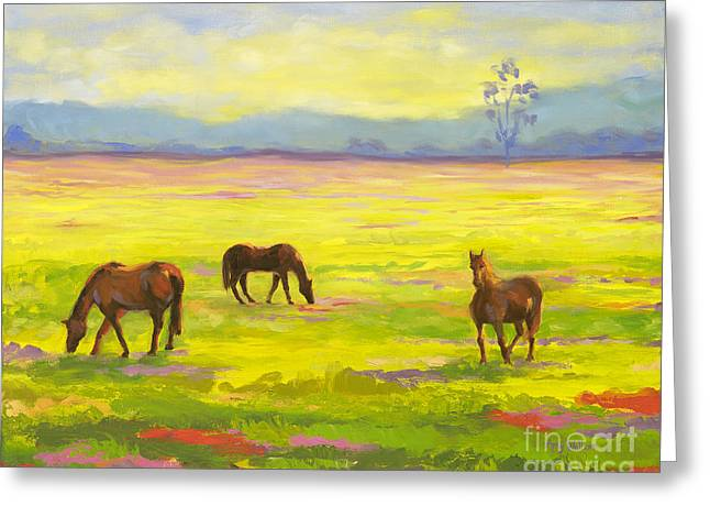 Good Morning Horses Greeting Card by Amy Welborn