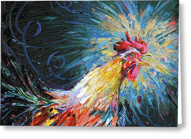 Good Morning Rooster Oil Painting By Kim Guthrie Greeting Card