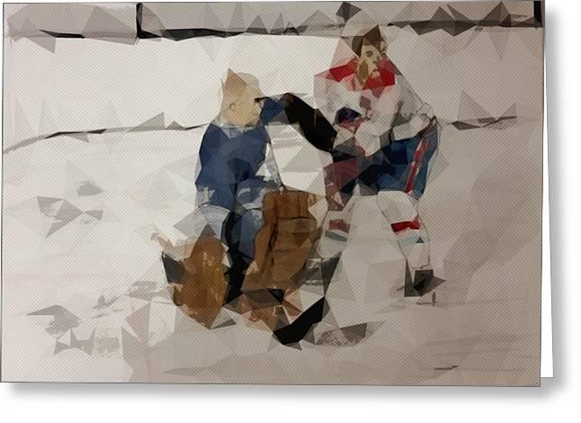 Vintage Hockey Greeting Card by Shaun Groenesteyn
