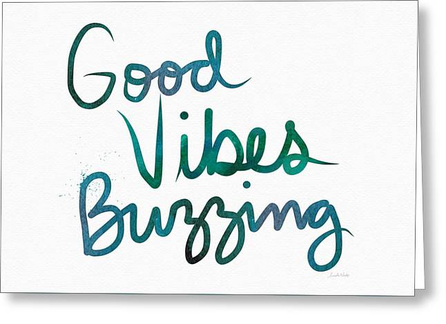 Good Vibes Buzzing- Art By Linda Woods Greeting Card