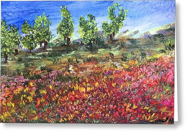 Greeting Card featuring the painting Goodbye Winter by Norma Duch