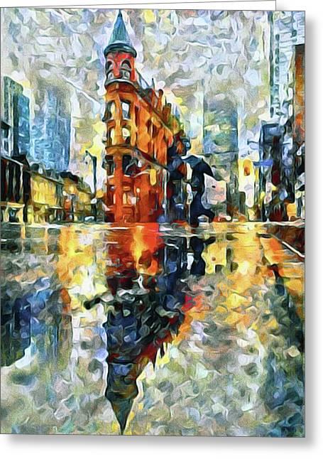 Gooderham Flatiron Building In The Rain Greeting Card