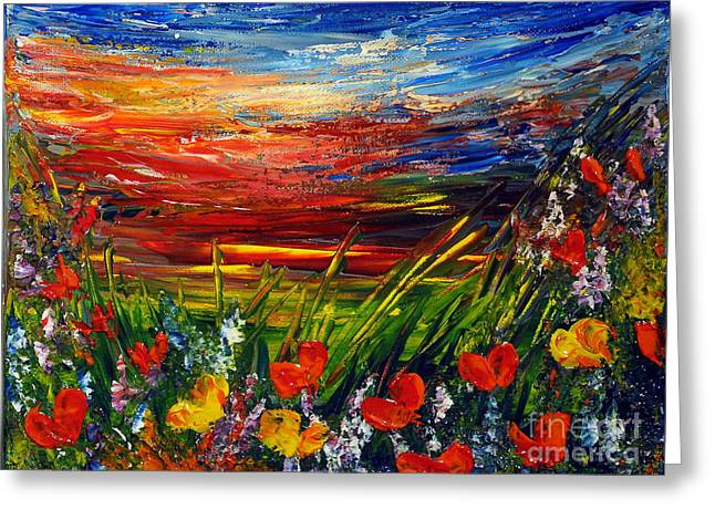 Greeting Card featuring the painting Goodnight... by Teresa Wegrzyn