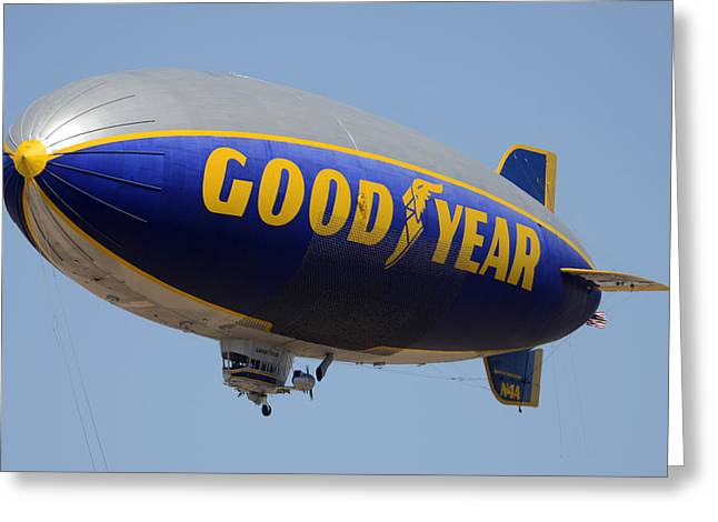 Goodyear Blimp Spirit Of Innovation Goodyear Arizona September 13 2015 Greeting Card by Brian Lockett