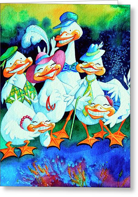 Gaggle Greeting Cards - Goofy Gaggle of Grinning Geese Greeting Card by Hanne Lore Koehler