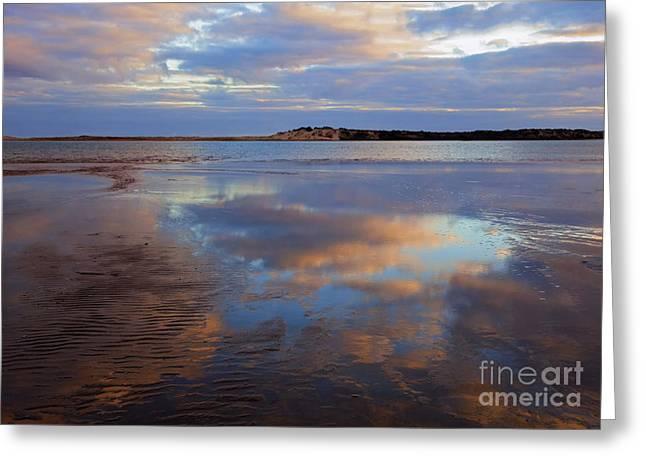 Goolwa Beach Reflections Greeting Card by Mike Dawson