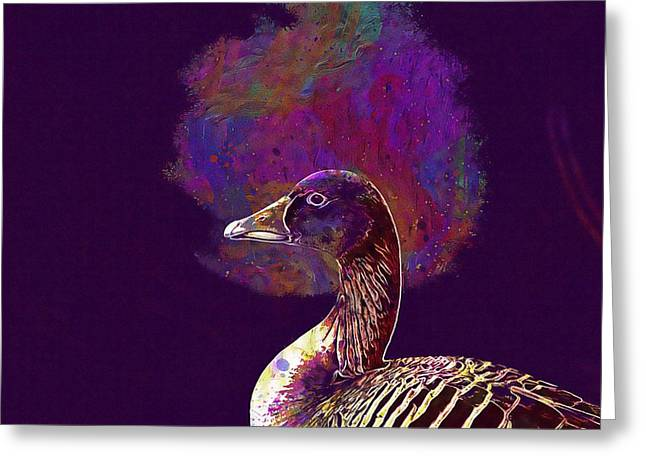 Greeting Card featuring the digital art Goose Bird Wild Goose  by PixBreak Art