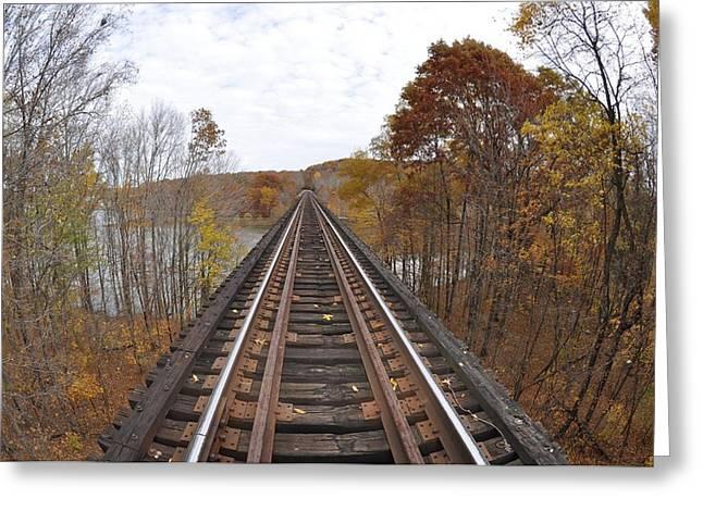 Goose Hollow Train Bridge Greeting Card by Jon Benson