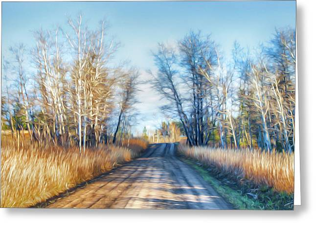 Goose Lake Road Greeting Card by Theresa Tahara