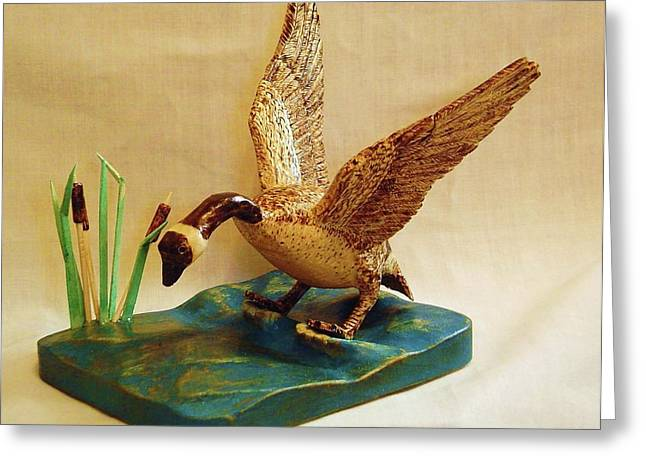 Game Bird Sculptures Greeting Cards - Goose Landing Greeting Card by Russell Ellingsworth