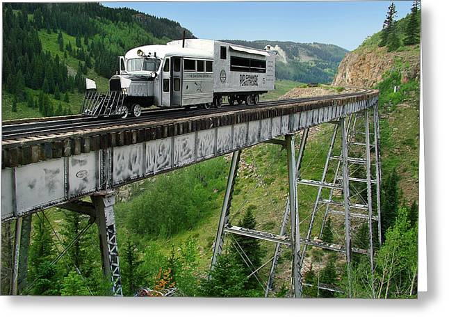Goose On Cascade Trestle Greeting Card by Ken Smith