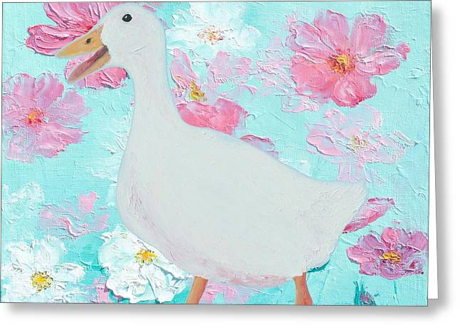 Goose On Floral Background Greeting Card