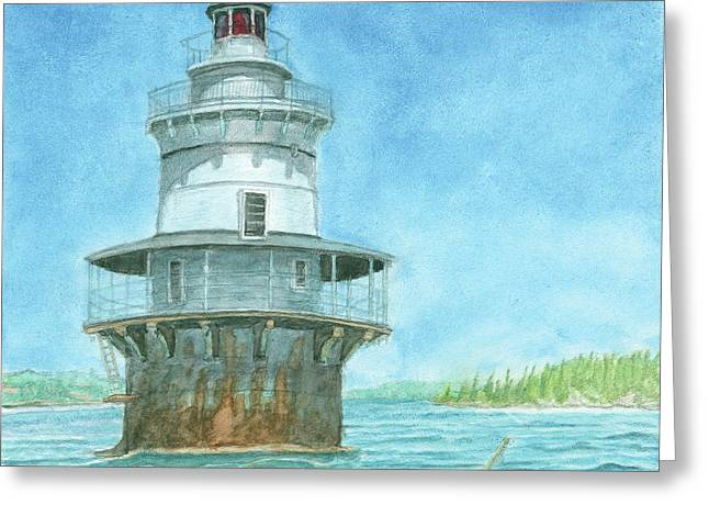 Maine Lighthouses Greeting Cards - Goose Rocks Light at High Tide Greeting Card by Dominic White