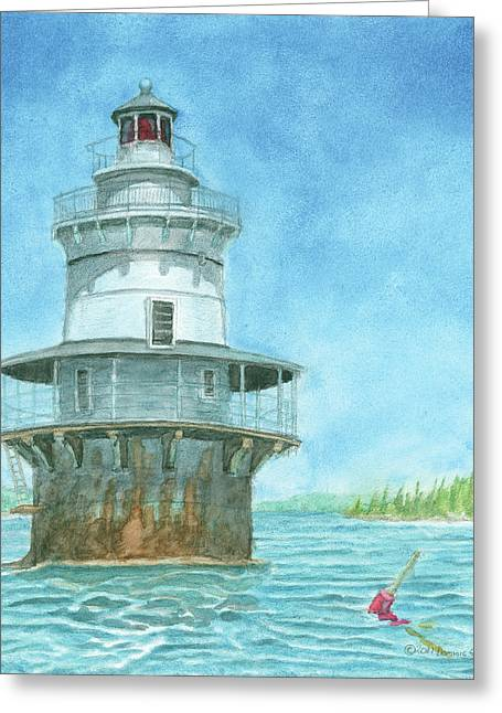 Goose Rocks Light At High Tide Greeting Card by Dominic White