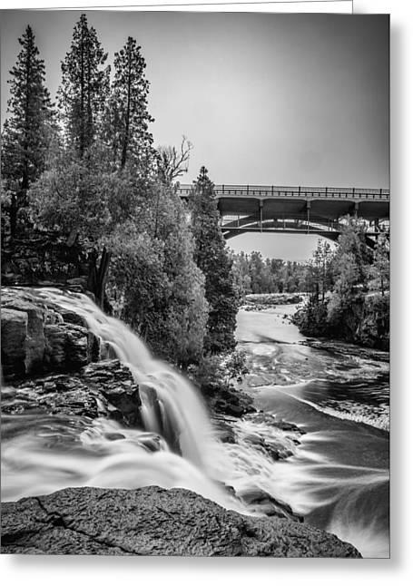 Gooseberry Falls Bridge In Black And White Greeting Card by Paul Freidlund