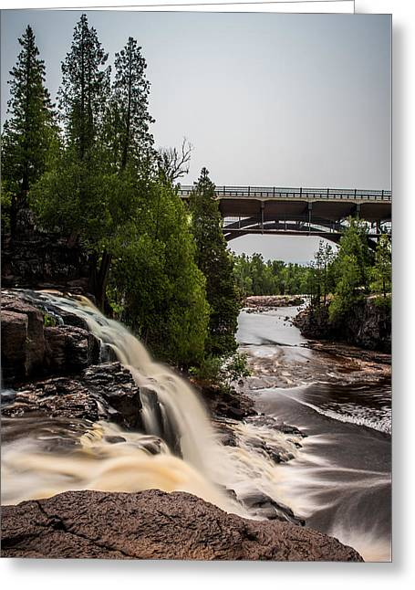 Gooseberry Falls Bridge In Color Greeting Card by Paul Freidlund