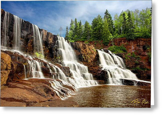 Greeting Card featuring the photograph Gooseberry Falls by Rikk Flohr