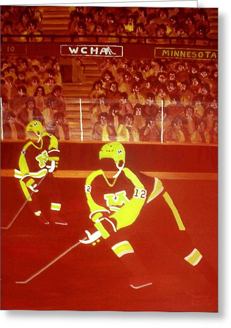 Hockey Paintings Greeting Cards - Gophers Greeting Card by Ken  Yackel