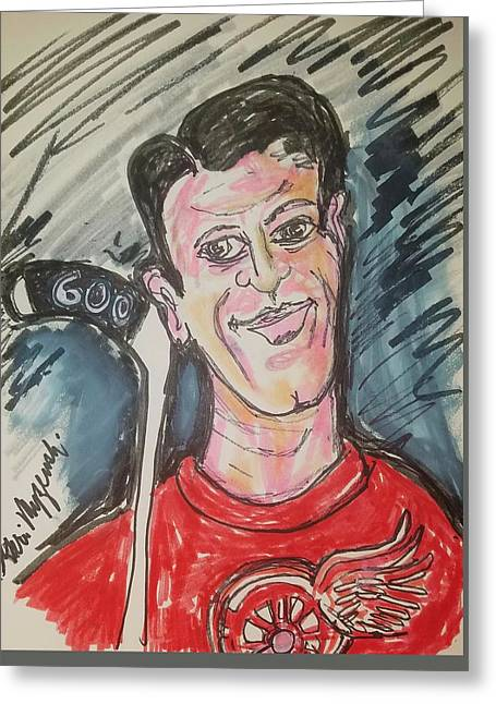 Gordie Howe 600 Goals Greeting Card by Geraldine Myszenski