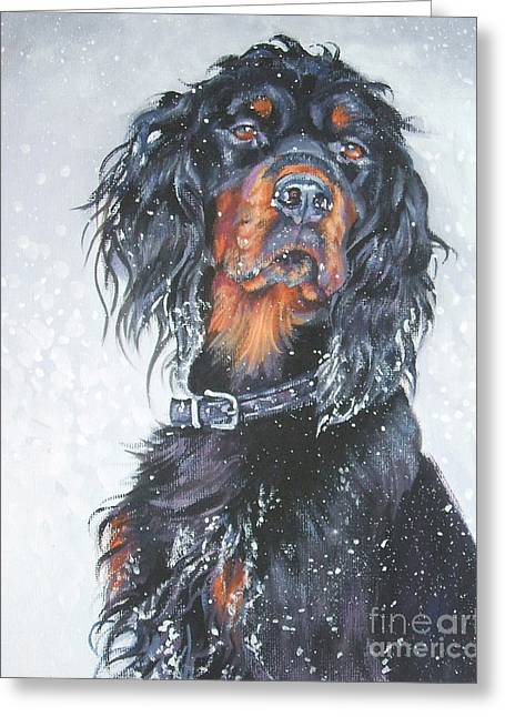 Gordon Setter In Snow Greeting Card by Lee Ann Shepard