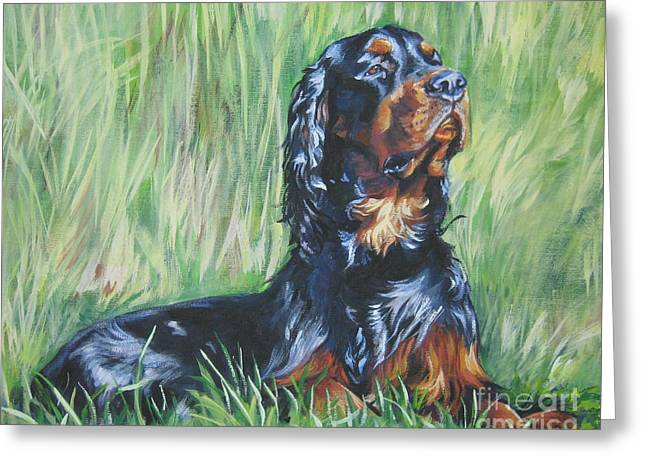 Gordon Setter In The Grass Greeting Card by Lee Ann Shepard