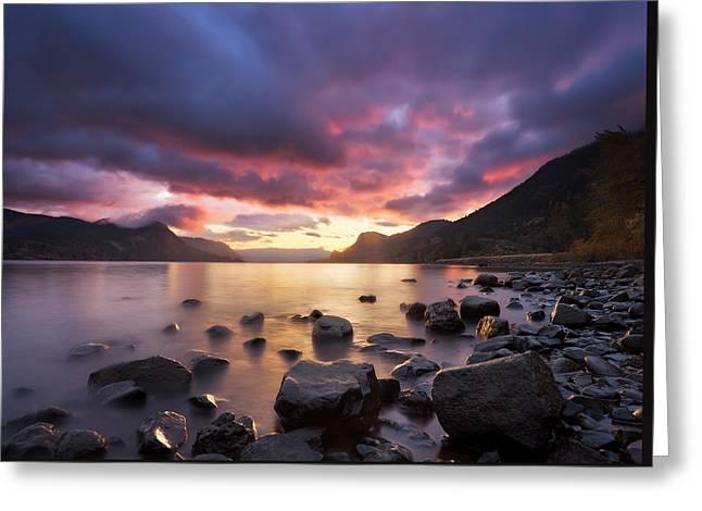 Gorge Sunrise Greeting Card by Thorsten Scheuermann