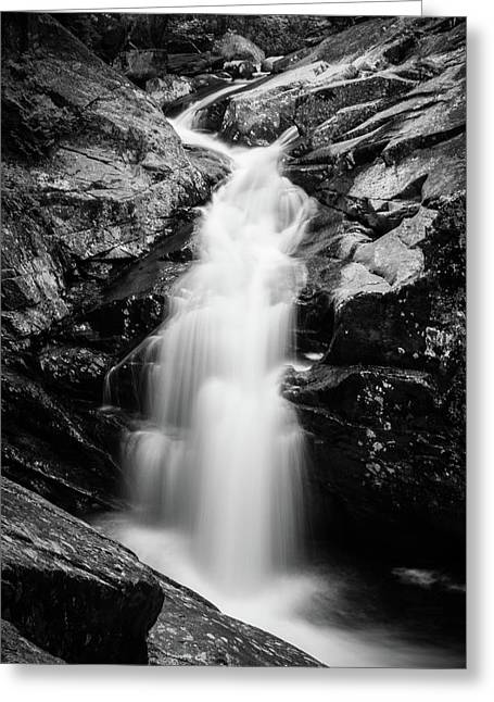 Gorge Waterfall In Black And White Greeting Card