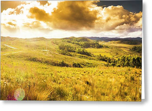 Gorgeous Golden Sunset Field  Greeting Card