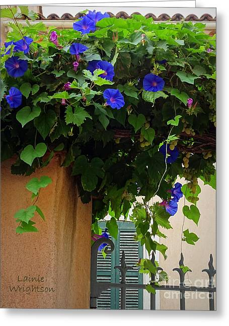 Gorgeous Morning Glories And Grapes Greeting Card by Lainie Wrightson