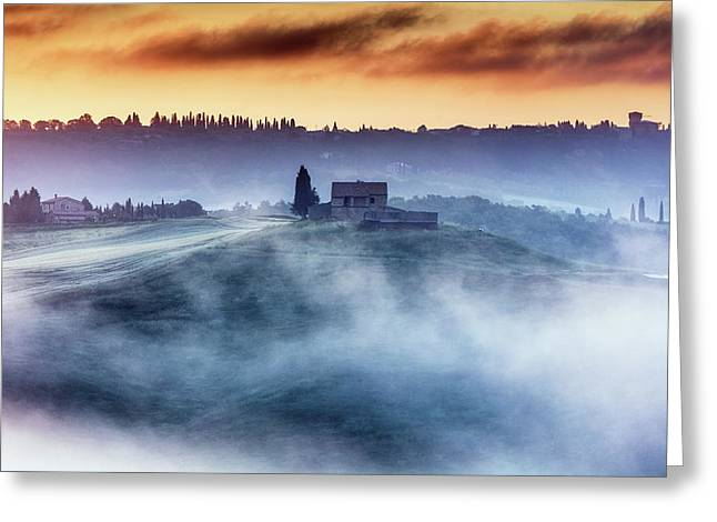 Gorgeous Tuscany Landcape At Sunrise Greeting Card by Evgeni Dinev