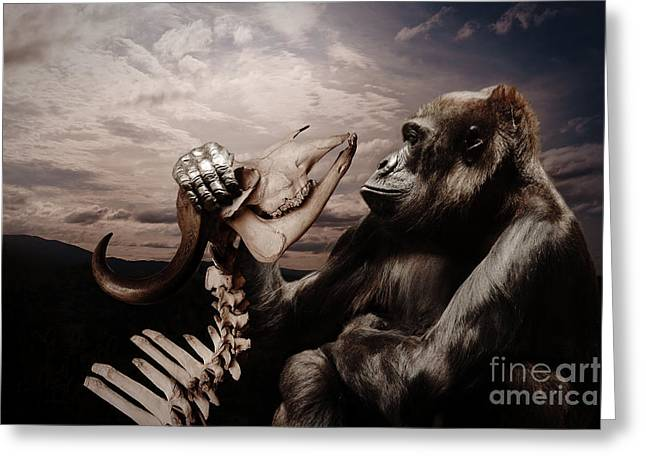 Greeting Card featuring the photograph Gorilla And Bones by Christine Sponchia