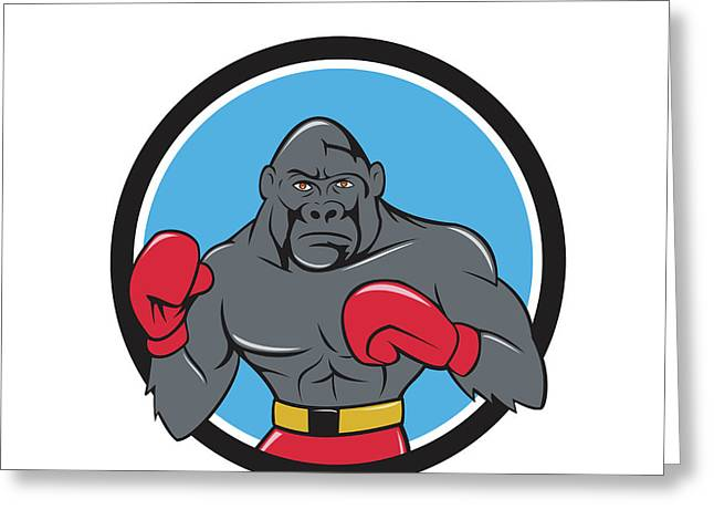 Gorilla Boxer Boxing Stance Circle Cartoon Greeting Card by Aloysius Patrimonio