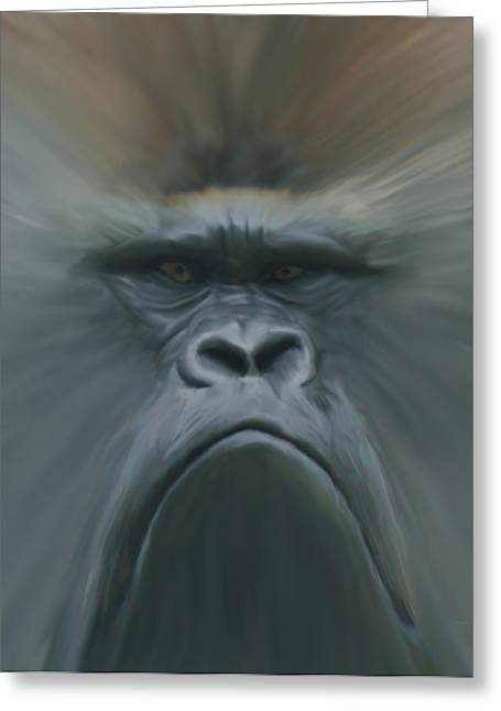 Gorilla Freehand Abstract Greeting Card by Ernie Echols