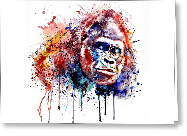 Greeting Card featuring the mixed media Gorilla by Marian Voicu