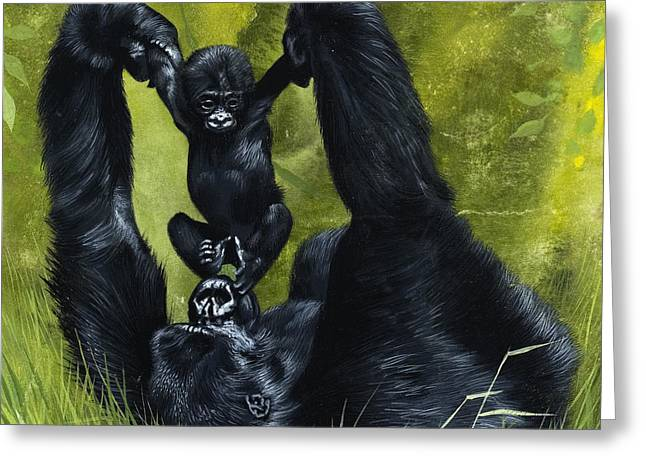 Gorilla Playing With Baby Greeting Card