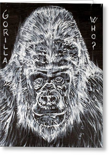 Greeting Card featuring the painting Gorilla Who? by Fabrizio Cassetta