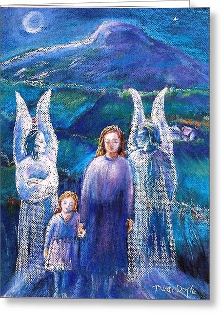 Gossiping Guardian Angels  Greeting Card